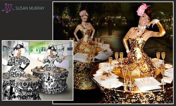 champagne serving dresses, strolling tables