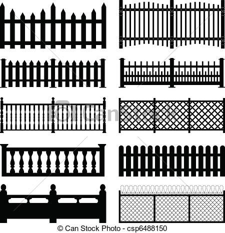 Picket Fence Styles | Set Of Fences And Wall Brick Design