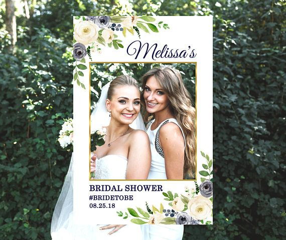 Custom Bridal Shower Photo Booth Frame Greenery Navy White Floral