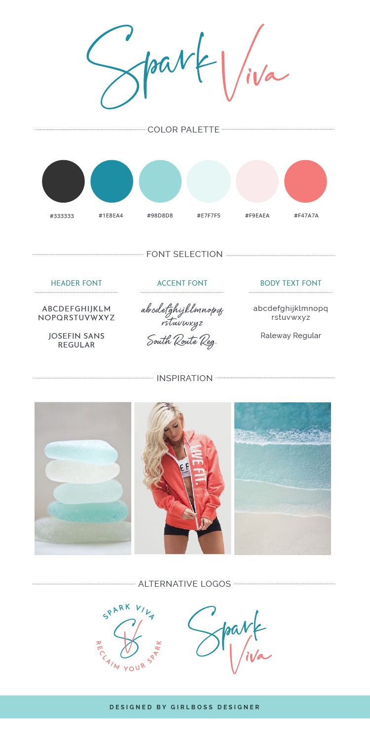 Coral & Turquoise Branding for Holistic Health Coach – Spark Viva