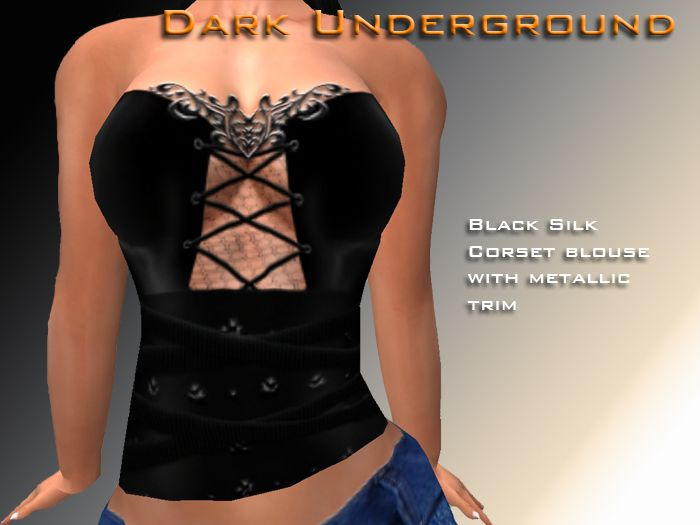 Black silk corset blouse with metallic trim, only L$10