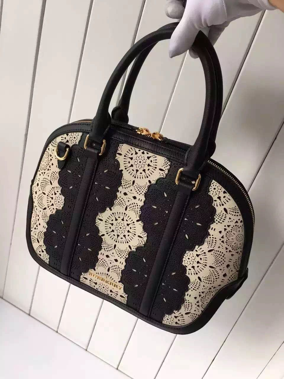 25d7bbad727 B Small Orchard Bowling Bag In Lace Leather White/Black S/S 2016 ...