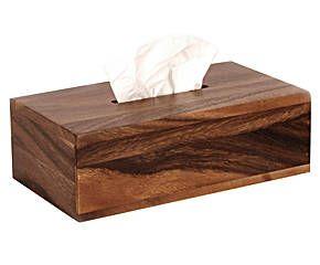 Caja para pañuelos en madera de acacia