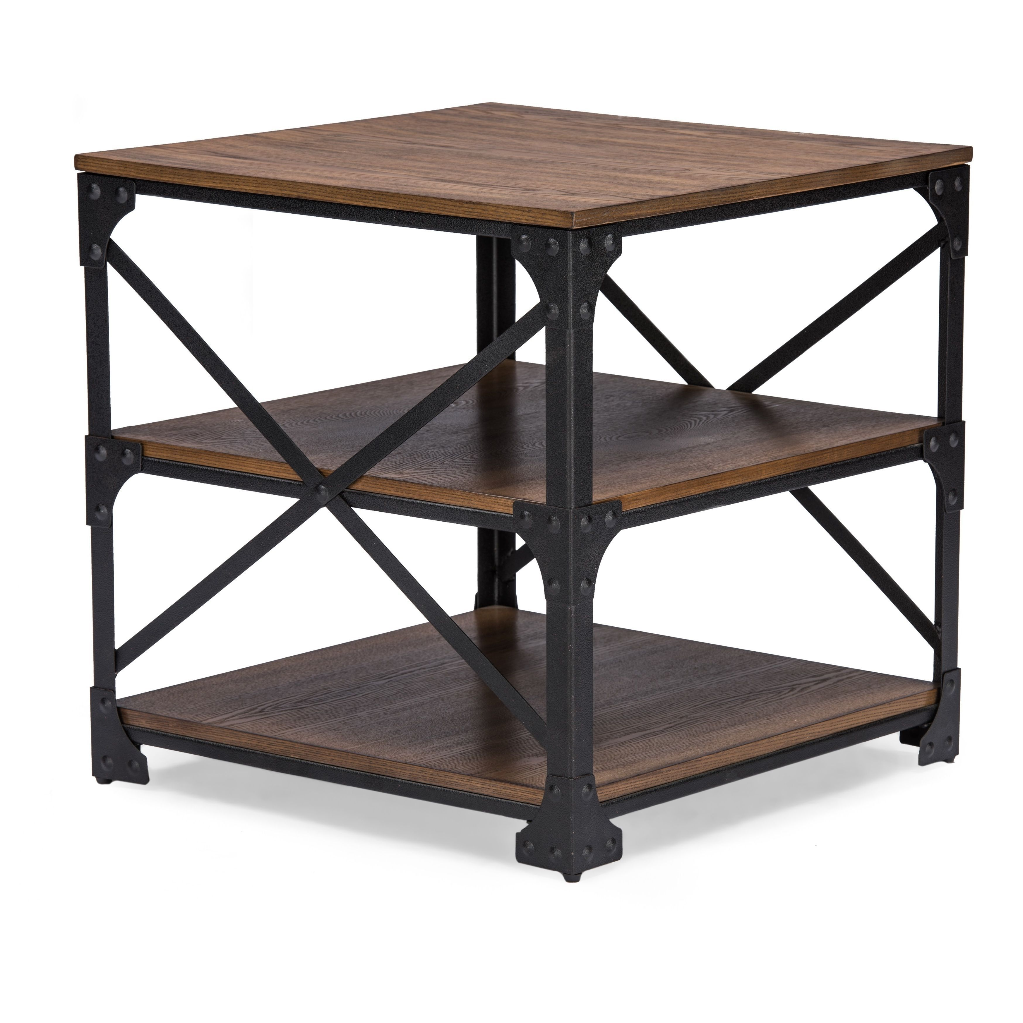 Iron Side Tables For Living Room Pairing Iron Metal Frame With Distressed Finishing Wood