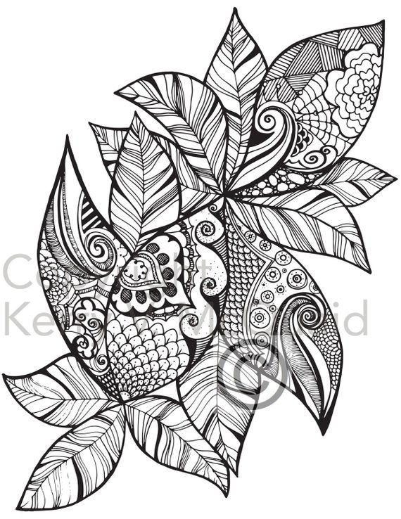 Instant Pdf Download Coloring Page Hand Drawn Leaf