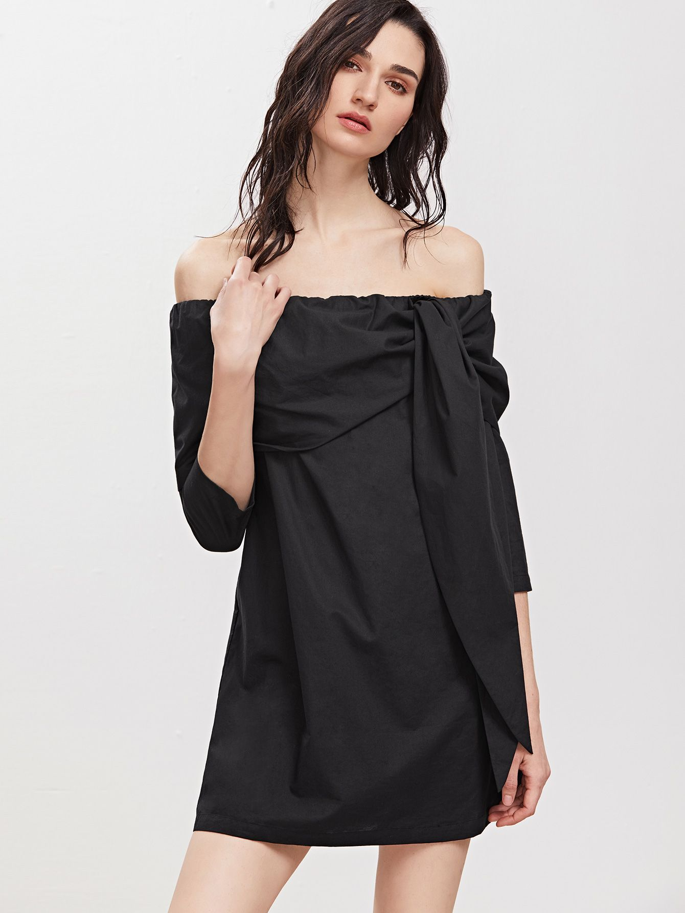 e9ef682cbde Shop Black Foldover Tied Off The Shoulder Dress online. SheIn offers Black  Foldover Tied Off The Shoulder Dress   more to fit your fashionable needs.