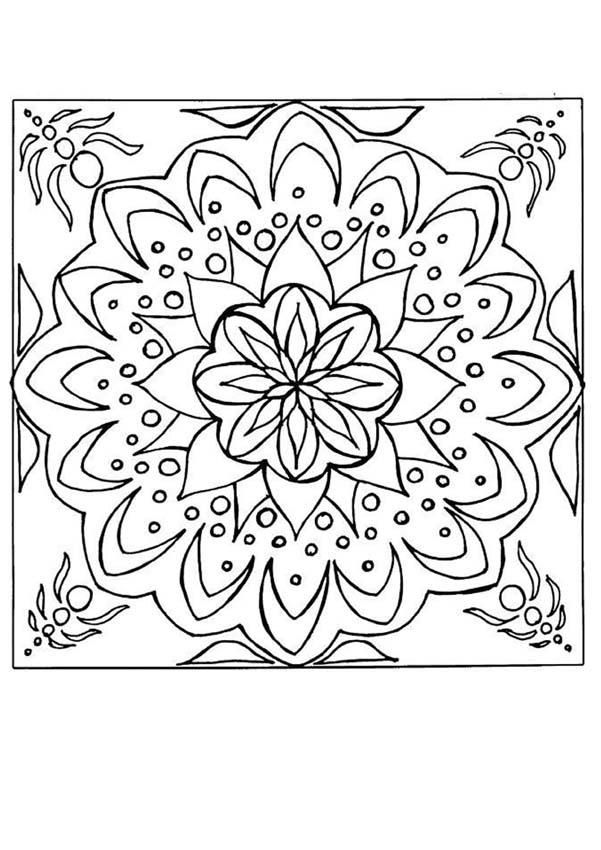 Beautiful And Graphic Coloring Page Original Natural Mandala With Flowers For Kids Or Adults More Content On Hellokids