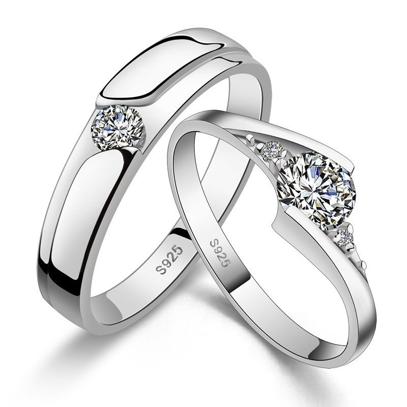 His Hers Matching Couple Engagement Rings Wedding Band Set