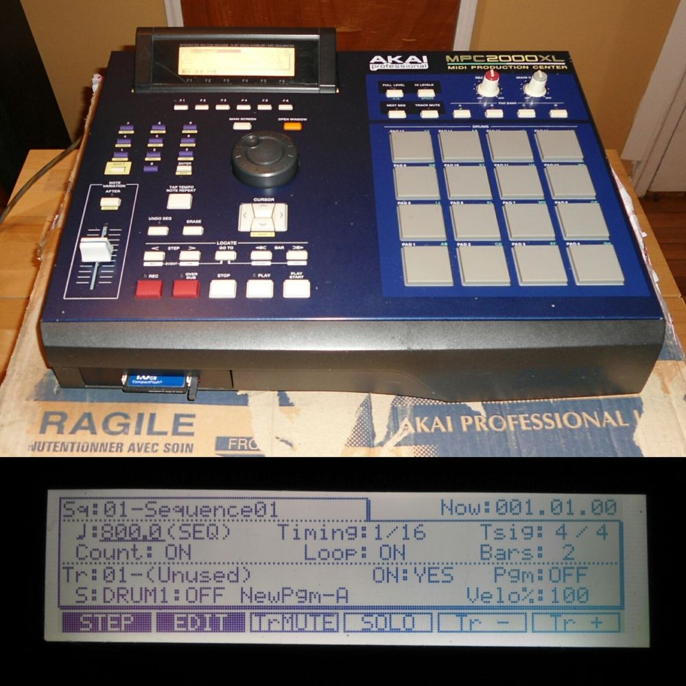 Akai MPC 2000XL Blue Edition  Now  if the LCD display have