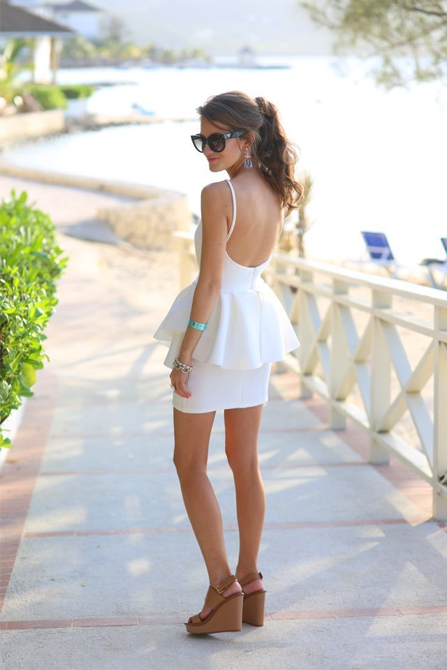 Short white #backless summer dress, heels. #women fashion outfit clothing style apparel @roressclothes closet ideas