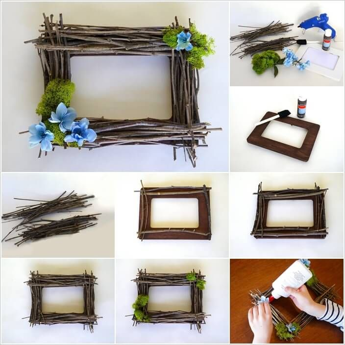 Craft a Rustic Picture Frame from Recycled Twigs | Things i shuold ...
