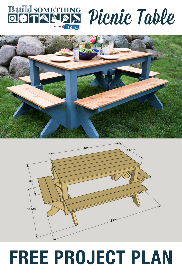 Table from a single 1 x 8 board see more diy twisty side table - Diy Picnic Table Free Printable Project Plans At Buildsomething Com This Outdoor Picnic Table Is A Package Deal Benches On Each Side Connect To The