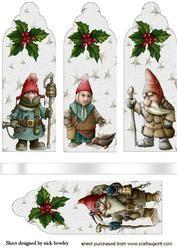 Kerst Gnomes Met Hulst, Bookmarks