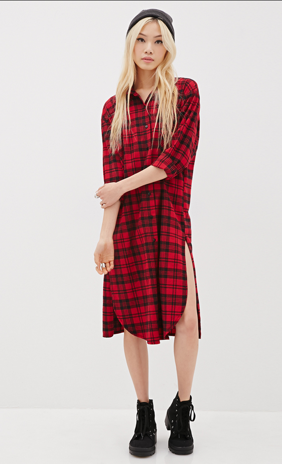 546b47b99c0 NOT IN THE PLAID-- oversized midi button front shirt dress with slits