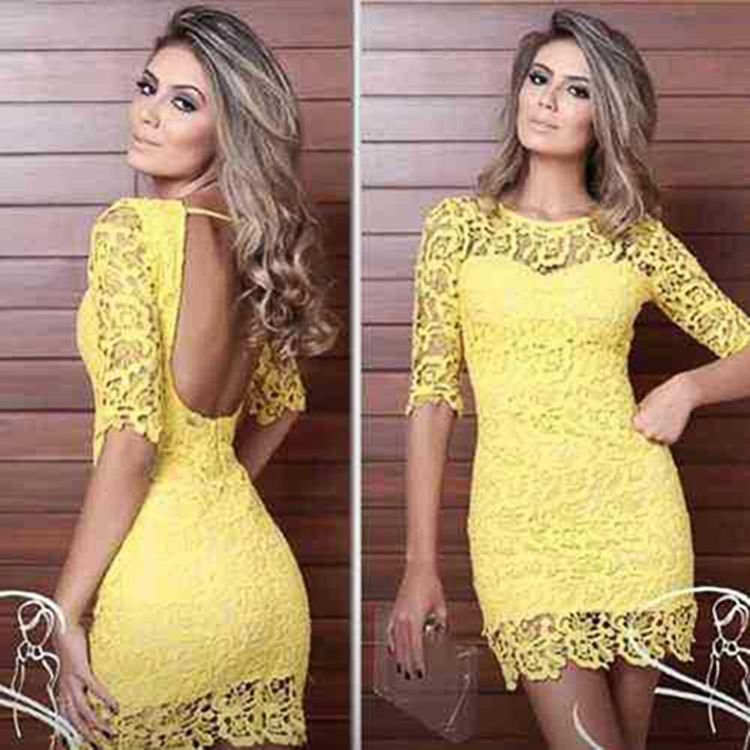 New Stylish Lady Women Half Sleeve O-Neck Sexy Slim Backless Bodycon Dress