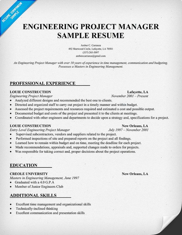 Engineering #Project Manager Resume Sample (Resumecompanion.Com