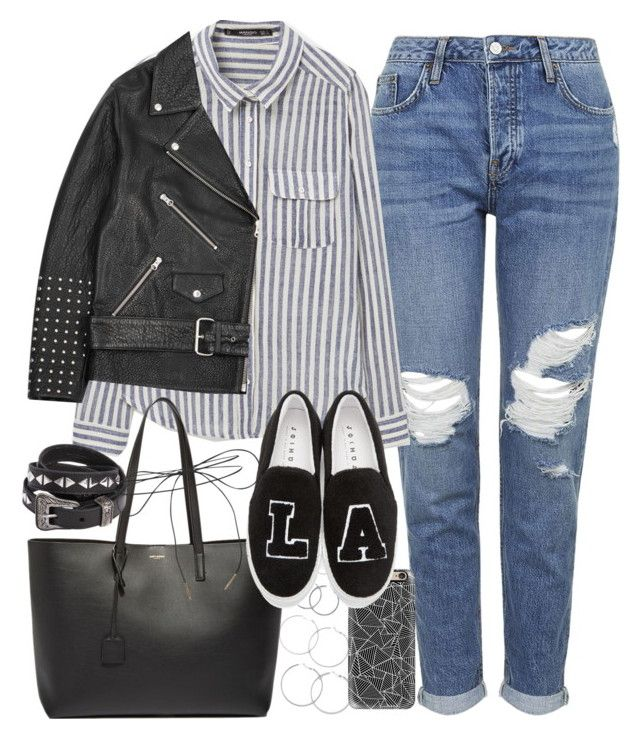 """""""Outfit with mom jeans"""" by ferned on Polyvore featuring Topshop, Forever 21, MANGO, Yves Saint Laurent, Casetify, McQ by Alexander McQueen, Joshua's and Lilou"""