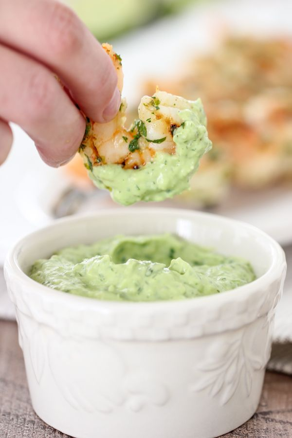 Cilantro Lime Grilled Shrimp With a Creamy Avocado Dipping Sauce #grilledshrimp