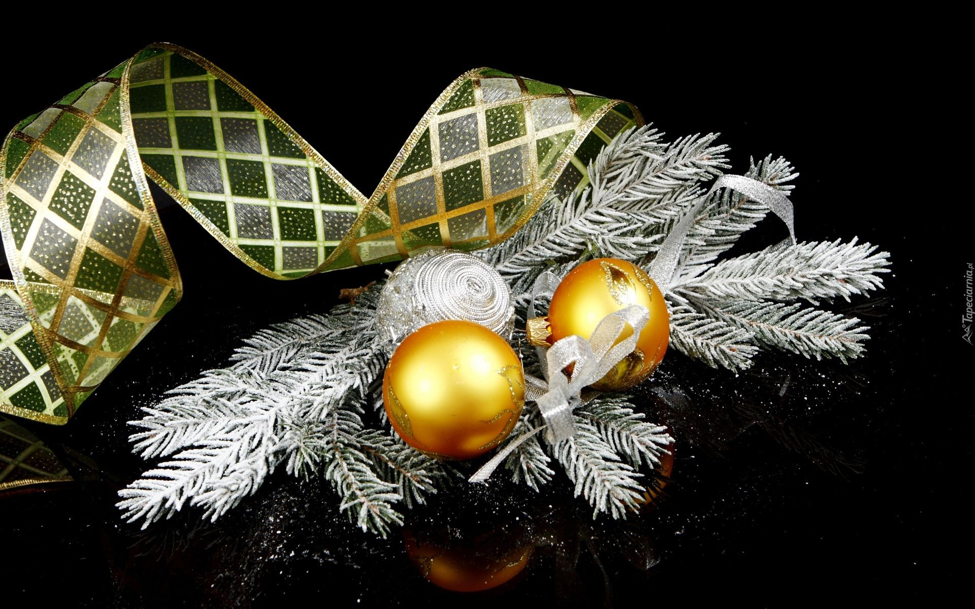 Boże Narodzenie Dekoracje Złote Bombki Gałązki Wstążka