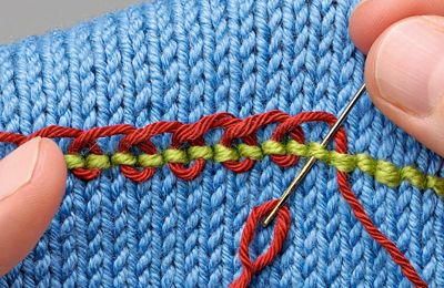 Embroidering knitting - part 3 by TheKnitter.themakingspot.com includes back stitch, threaded back stitch and Pekinese stitch