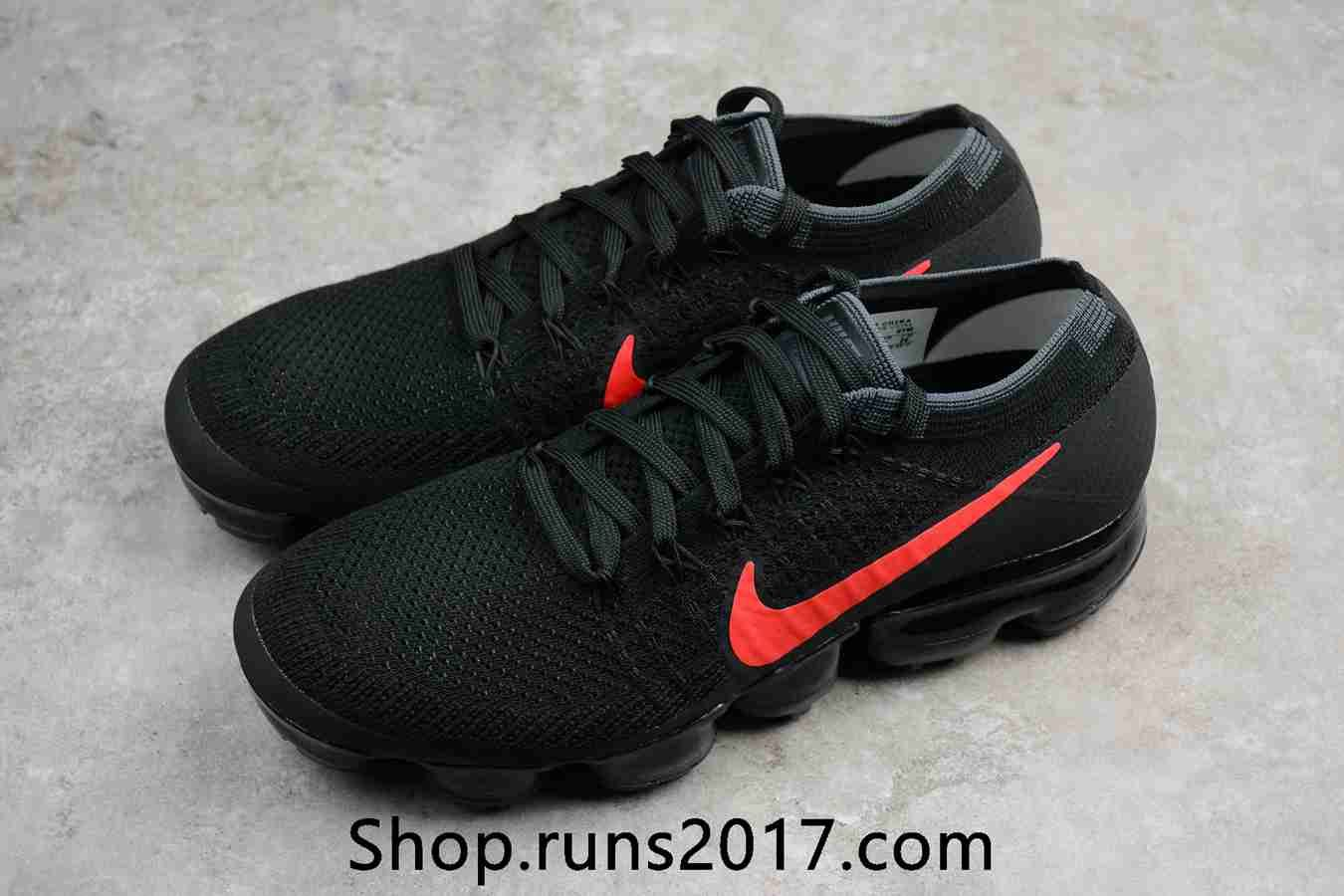 a5fe4167b66 New Nike Air VaporMax 2018 Flyknit Black Red Tick Women Men