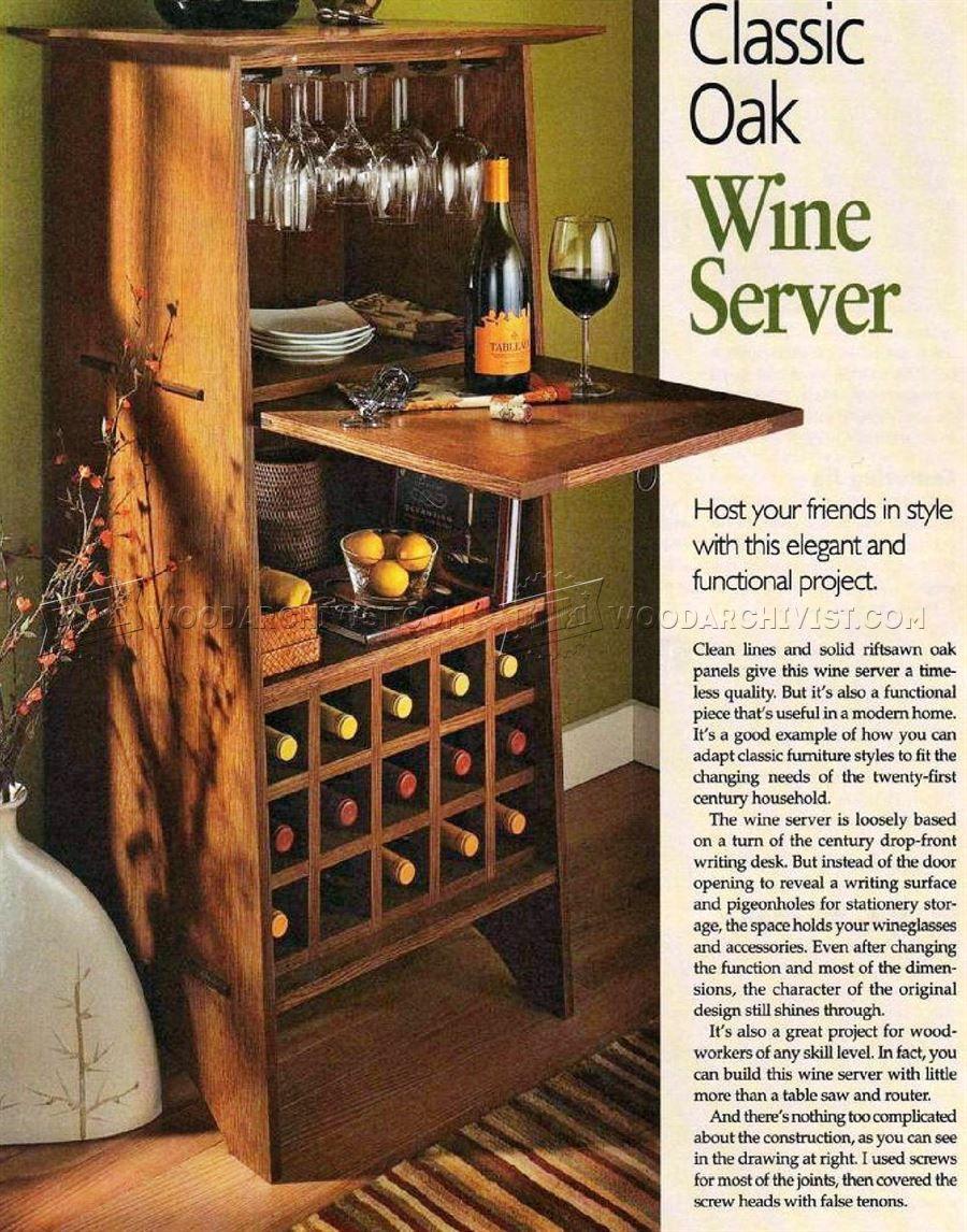 Classic Oak Wine Server Plans   Furniture Plans