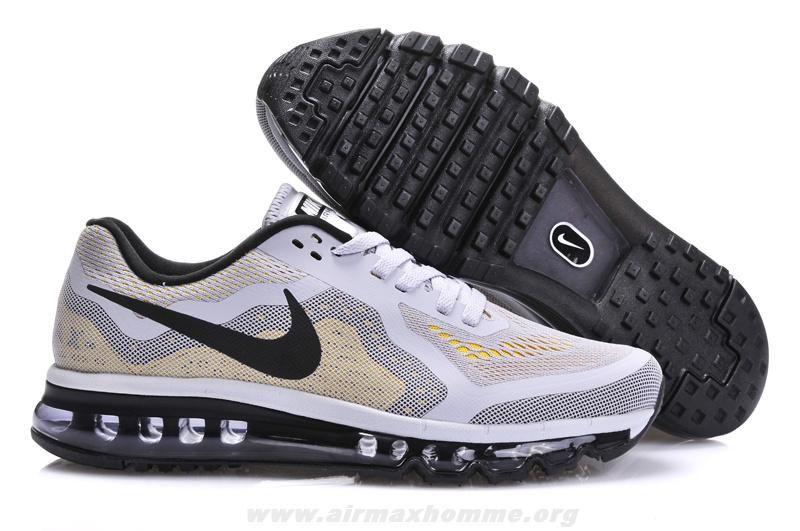 f9443bb571df Blanc Gris Noir Chaussures Hommes Nike Air Max 2014 621077-002 | Air ...