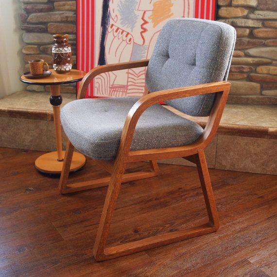 60s Vintage Danish Modern Chair Hon Grey Wool By Acesfindsvintage 195 00