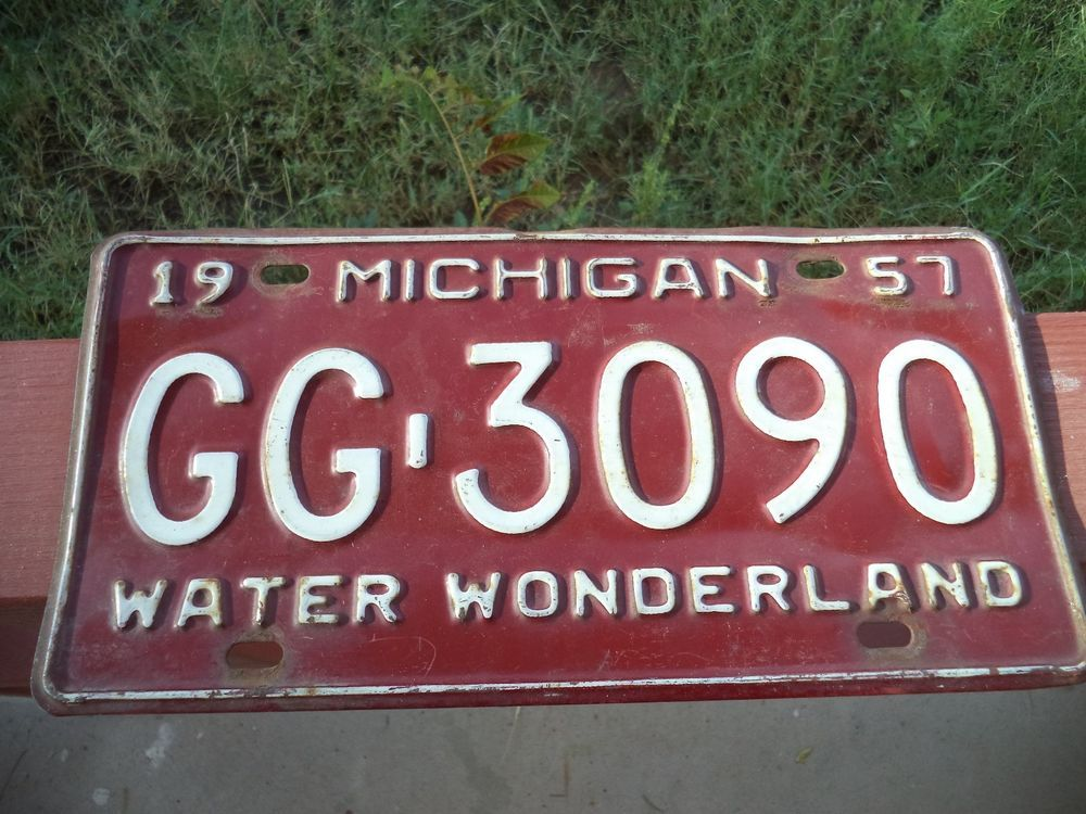 Vintage 1957 Michigan Water Wonderland License Plate Man Cave Auto ...