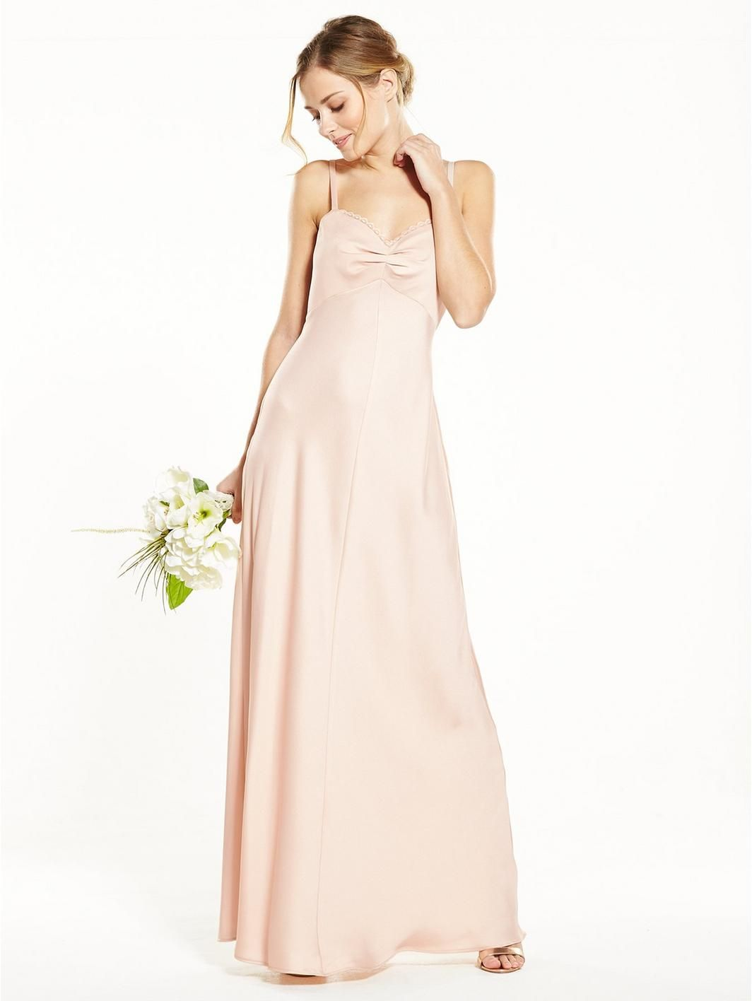 Bridesmaids Button Back Satin Maxi Dress - Champagne | Champagne and ...