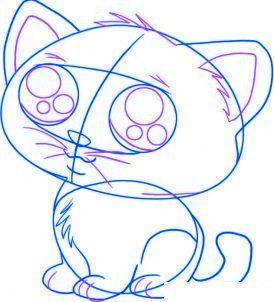 Dessiner un chat de dessin anime etape 4 drawing pinterest chibi draw animals and doodles - Dessiner un manga ...