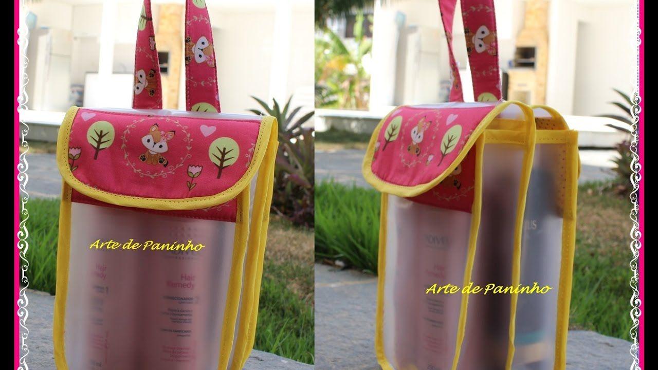 f12157740 Como fazer uma bolsa porta shampoo com plástico vinil, e acabamento com.