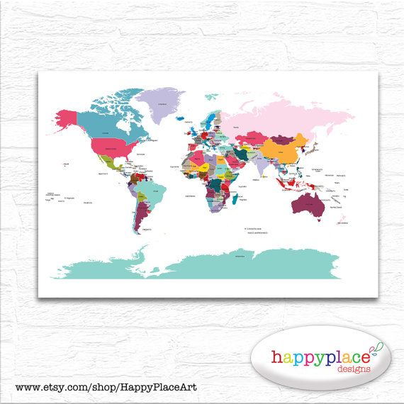 Printable world map wall art in large 20x30in with lovely living printable world map wall art in large 20x30in with lovely sciox Gallery