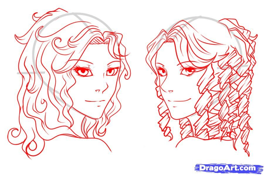 How To Draw Curly Hair Draw Curls Step By Step Anime Hair Curly Hair Cartoon How To Draw Hair Drawings