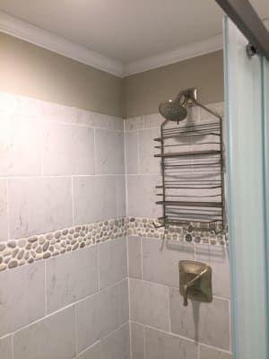 bali cloud pebble tile border | pebble tile, shower floor