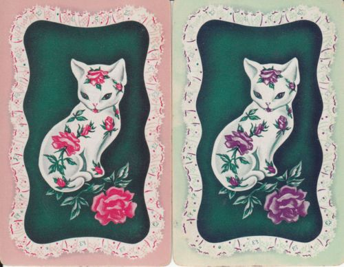 -Vintage Swap / Playing Cards - 2 SINGLE - cats and roses | eBay
