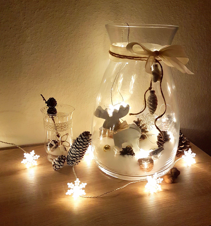 diy weihnachten deko gro es glas dekorieren mit. Black Bedroom Furniture Sets. Home Design Ideas