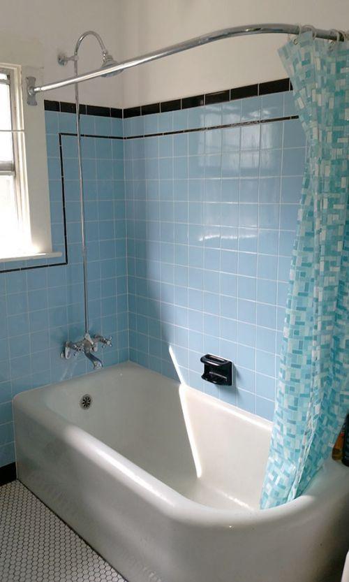 Laura Tim S Beautiful Blue Bathroom Remodel Blue Bathroom Retro Bathrooms Blue Bathroom Tile