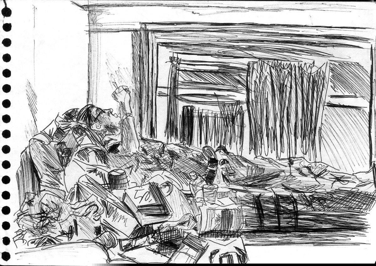 Chambre dans une auberge de jeunesse à Amsterdam, Pays-Bas - Dessin L'Oeil d'Édouard © tous droits réservés
