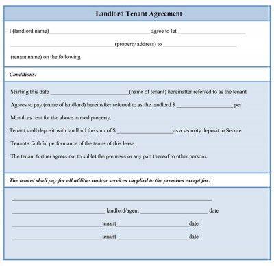 Landlord Tenant Agreement Form Rental Pinterest Being A