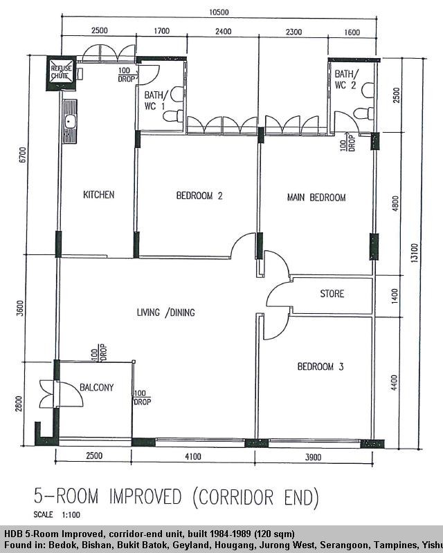 Hdb 5 Room Improved Flat 120 Sqm In 2020 House Plans Floor Plans Utility Rooms