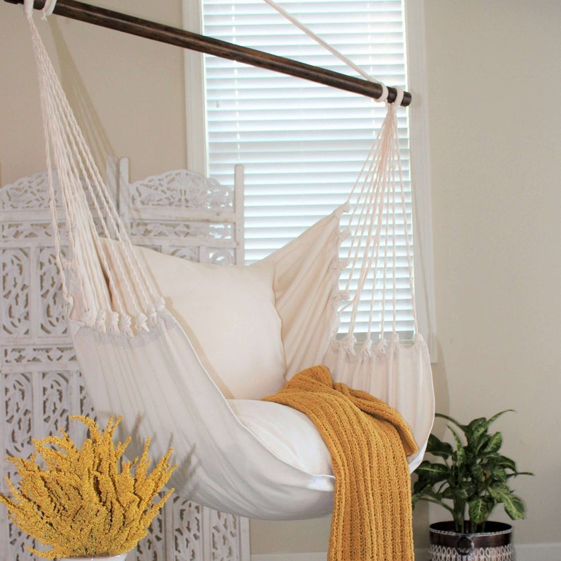 Natural Off White Hammock Chair Cotton Canvas Indoor