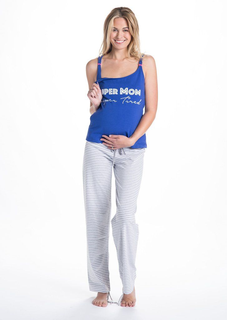 500c861b8865f Our Trudy Nursing and Maternity PJ set features super soft navy blue cotton  nursing tank top and PJ pants in white and gray stripes that perfect for  late ...
