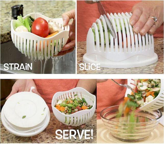 60 Second Salad Cutter Bowl Perfect Fruit Vegetable Slicer Lightweight Chopper Unbranded Cuisine Gadget Cuisine Ustensile Cuisine