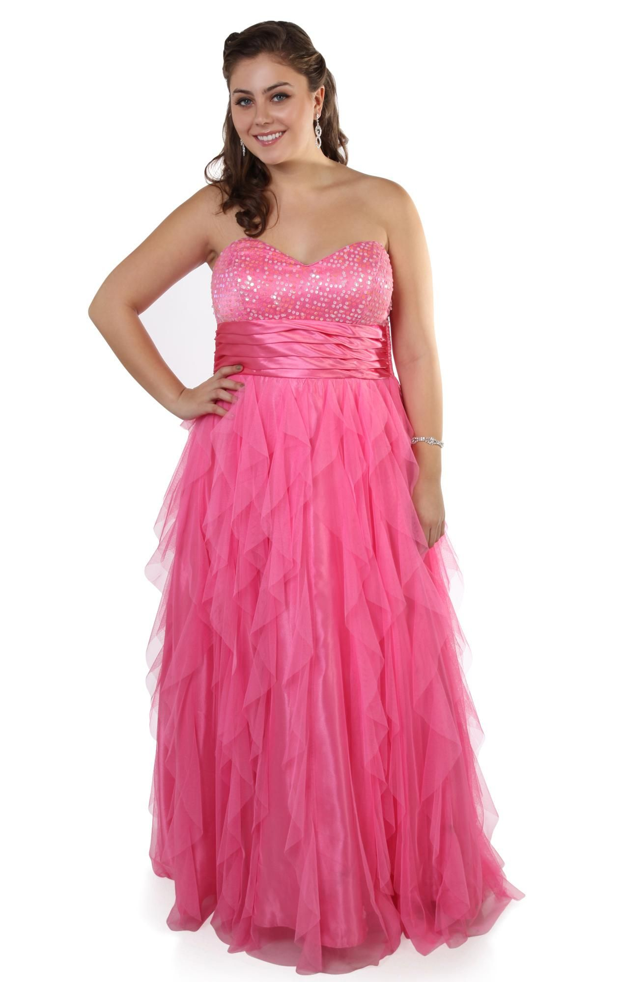 plus size sequin bodice empire flowy tendril skirt long #prom #dress ...