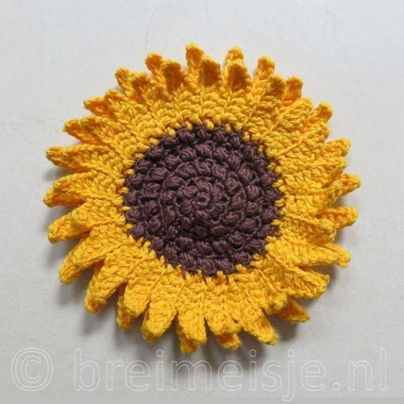 Zonnebloem Haken Bloemen Pinterest Crochet Flowers Crochet En