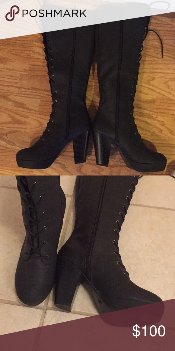 2e2ed264312 Steve Madden knee high boots Front tie and inside zipper. New, never worn. Steve  Madden Shoes Lace Up Boots