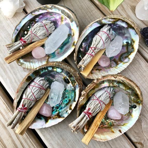 Smudge Kit || Sage || Palo Santo || Rose Quartz || Clear Quartz || Abalone Shell || Housewarming Gif