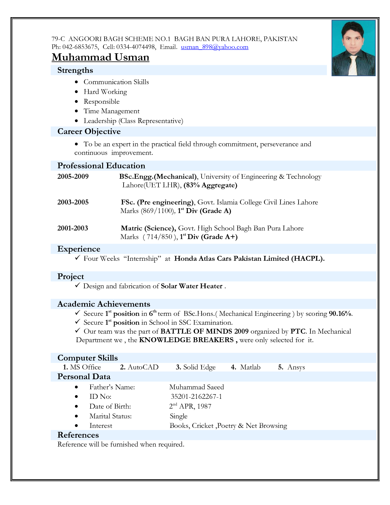 Samples Of Curriculum Vitae Resume Sample In Word Document Mbamarketing & Sales Fresher