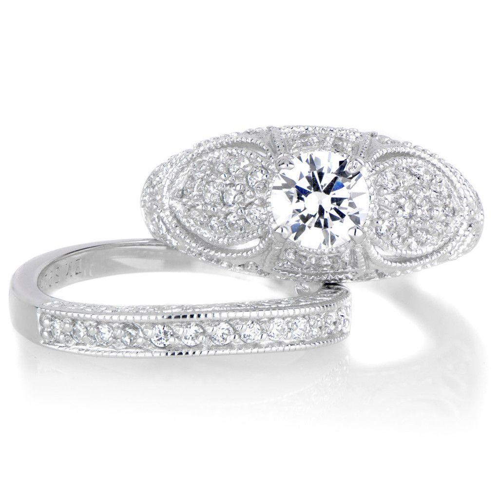 Vanoras CZ Antique Wedding Ring Set Wedding rings Pinterest